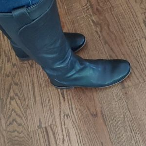 9 Frye Black leather knee high boots